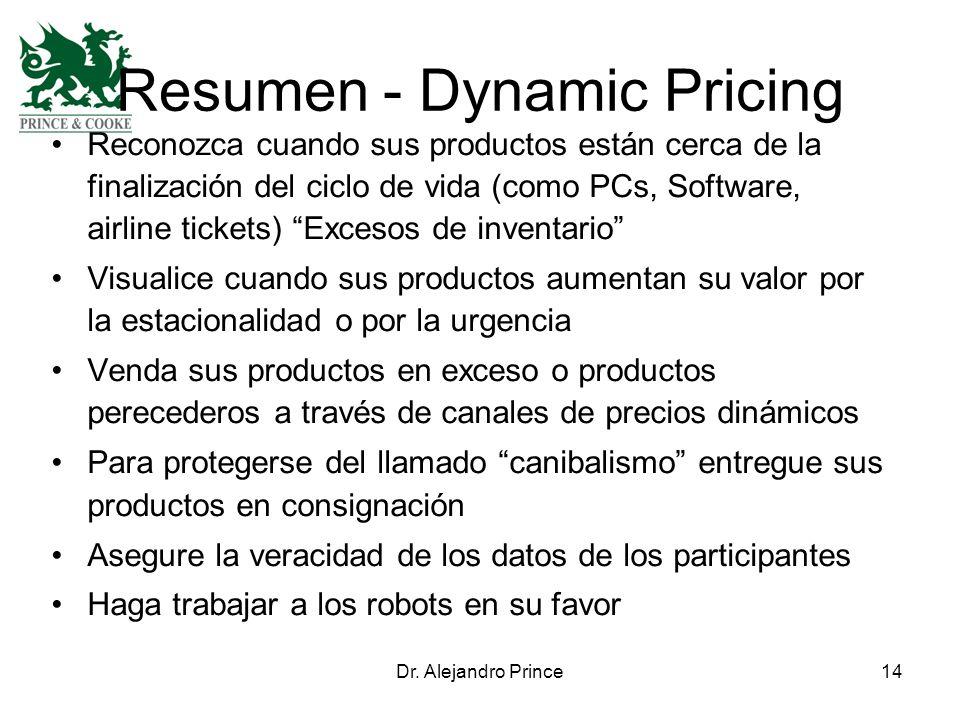 Dr. Alejandro Prince14 Resumen - Dynamic Pricing Reconozca cuando sus productos están cerca de la finalización del ciclo de vida (como PCs, Software,