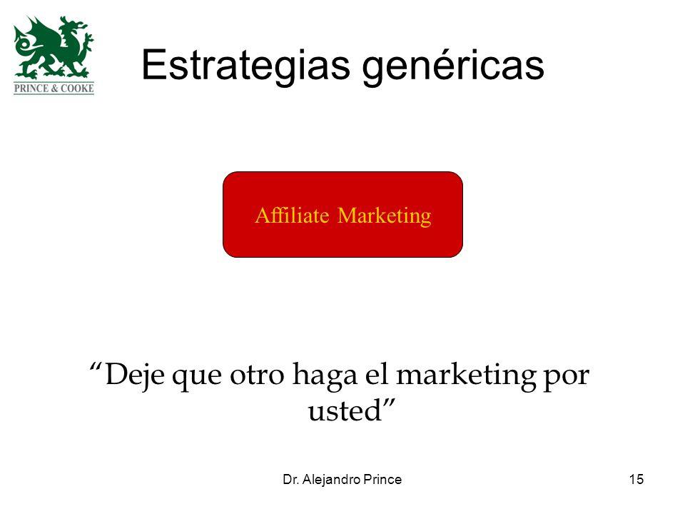 Dr. Alejandro Prince15 Estrategias genéricas Affiliate Marketing Deje que otro haga el marketing por usted