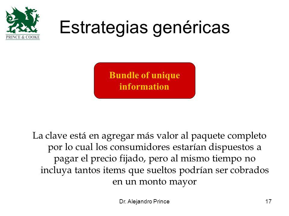 Dr. Alejandro Prince17 Estrategias genéricas Bundle of unique information La clave está en agregar más valor al paquete completo por lo cual los consu