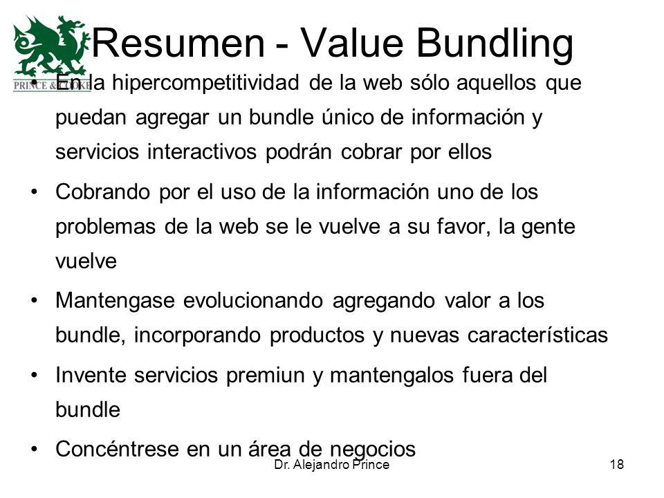 Dr. Alejandro Prince18 Resumen - Value Bundling En la hipercompetitividad de la web sólo aquellos que puedan agregar un bundle único de información y