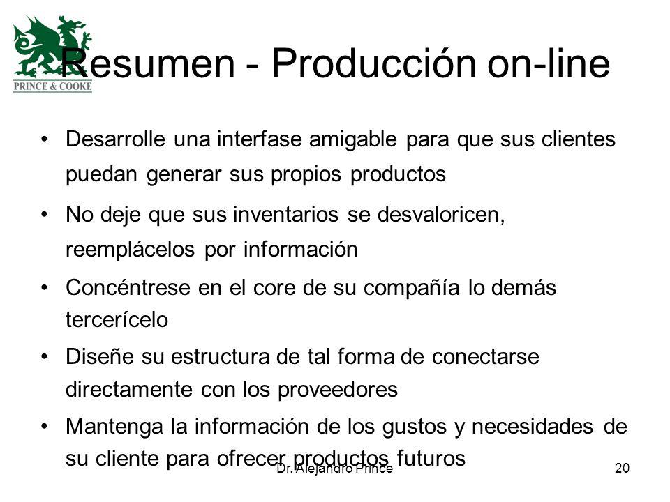 Dr. Alejandro Prince20 Resumen - Producción on-line Desarrolle una interfase amigable para que sus clientes puedan generar sus propios productos No de