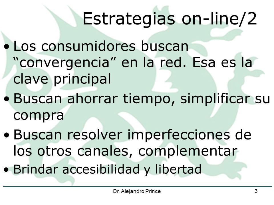 Dr. Alejandro Prince3 Estrategias on-line/2 Los consumidores buscan convergencia en la red.