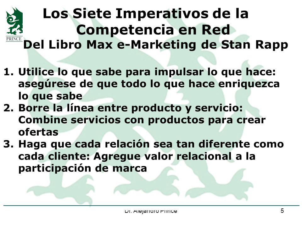 Dr. Alejandro Prince5 Los Siete Imperativos de la Competencia en Red Del Libro Max e-Marketing de Stan Rapp 1.Utilice lo que sabe para impulsar lo que