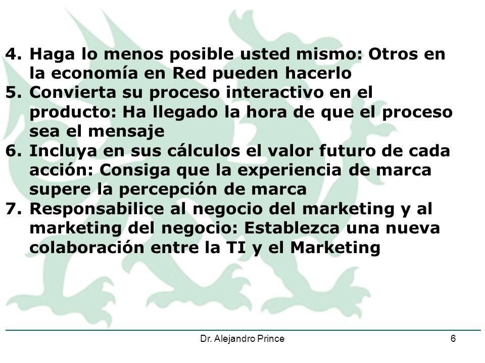 Dr. Alejandro Prince6 4.Haga lo menos posible usted mismo: Otros en la economía en Red pueden hacerlo 5.Convierta su proceso interactivo en el product