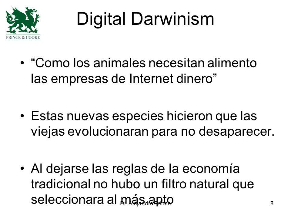 Dr. Alejandro Prince8 Digital Darwinism Como los animales necesitan alimento las empresas de Internet dinero Estas nuevas especies hicieron que las vi