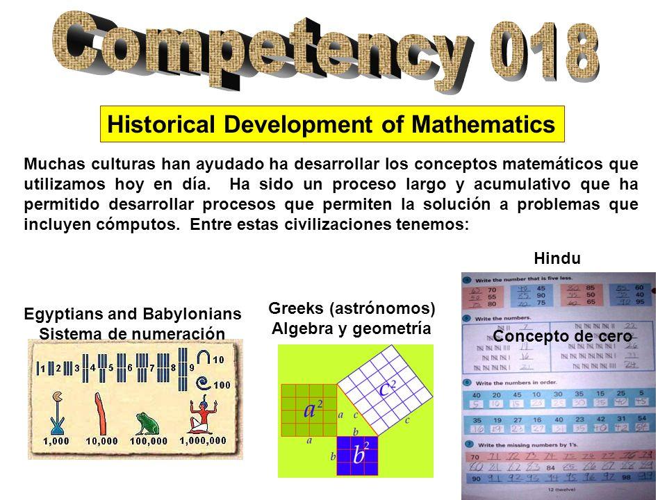 Historical Development of Mathematics Arab Sofisticado Sistema algebraico, Precursores del sistema de numeración actual Mayans Sistema de numeración y el concepto de cero, astronomía y ingeniería Aztecs Conceptos de ingeniería, arquitectura, calendario