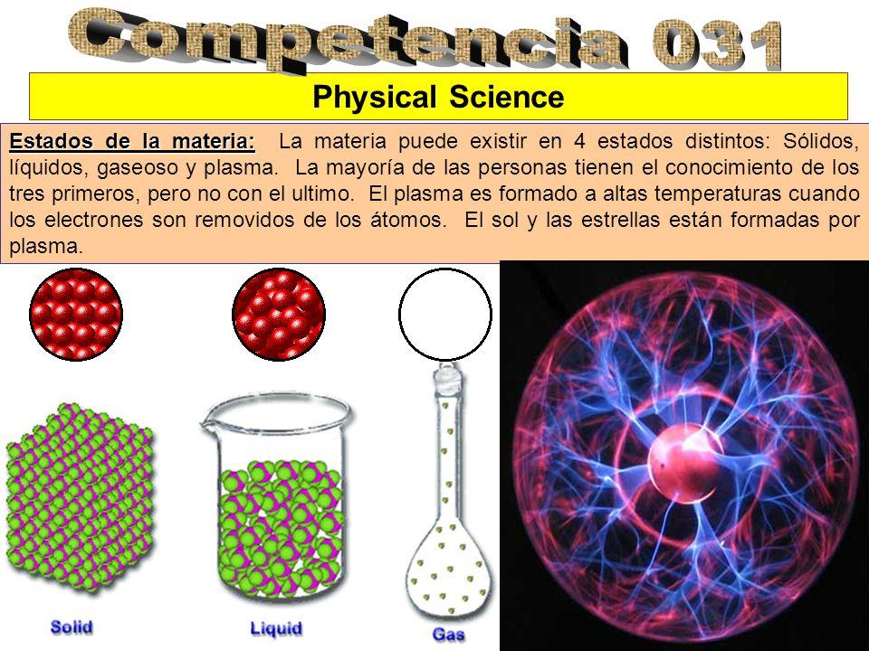 Physical Science Estados de la materia: Estados de la materia: La materia puede existir en 4 estados distintos: Sólidos, líquidos, gaseoso y plasma. L