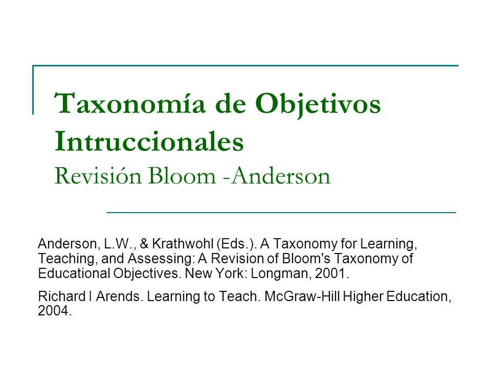 Taxonomía de Objetivos Intruccionales Revisión Bloom -Anderson Anderson, L.W., & Krathwohl (Eds.). A Taxonomy for Learning, Teaching, and Assessing: A