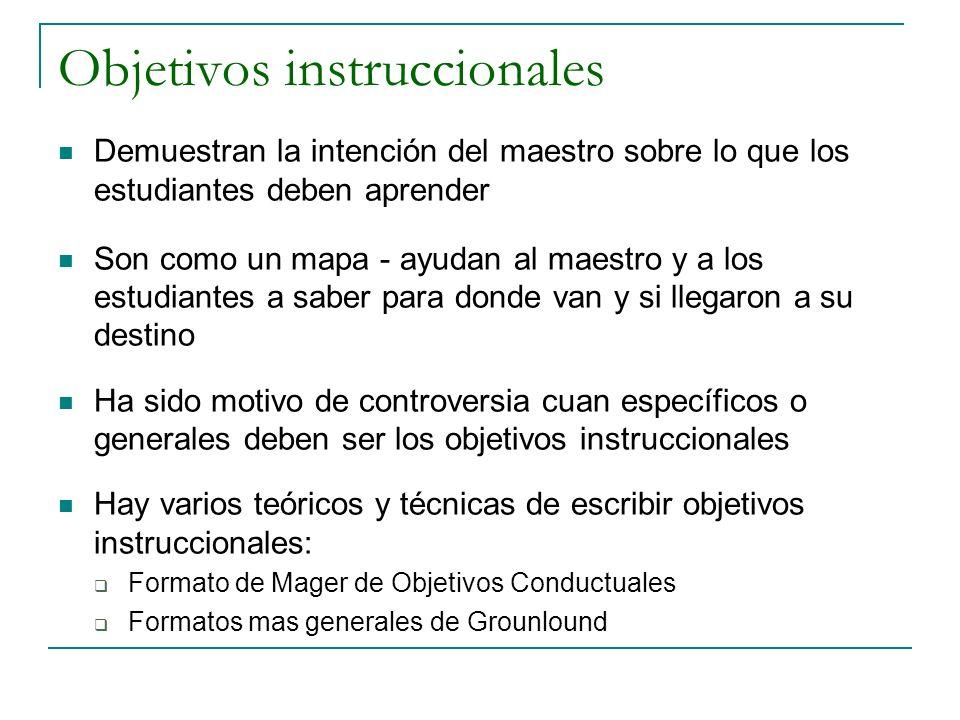 Objetivos instruccionales Demuestran la intención del maestro sobre lo que los estudiantes deben aprender Son como un mapa - ayudan al maestro y a los