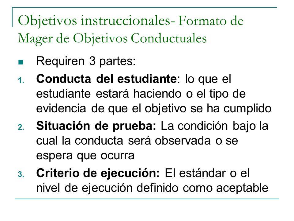 Objetivos instruccionales- Formato de Mager de Objetivos Conductuales Requiren 3 partes: 1. Conducta del estudiante: lo que el estudiante estará hacie
