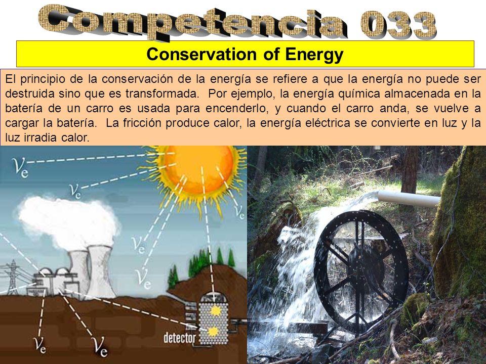 Conservation of Energy El principio de la conservación de la energía se refiere a que la energía no puede ser destruida sino que es transformada.
