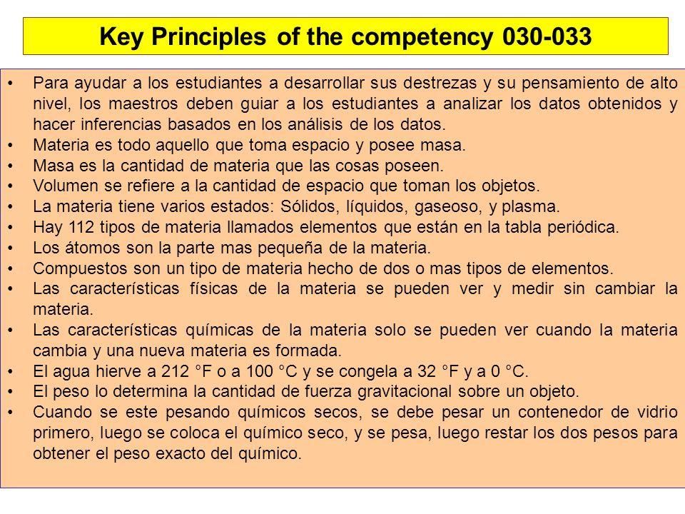 Key Principles of the competency 030-033 Para ayudar a los estudiantes a desarrollar sus destrezas y su pensamiento de alto nivel, los maestros deben guiar a los estudiantes a analizar los datos obtenidos y hacer inferencias basados en los análisis de los datos.