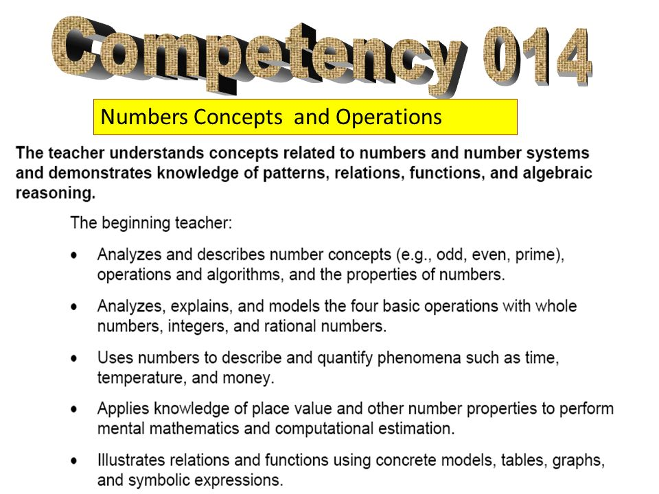 Numbers Concepts and Operations