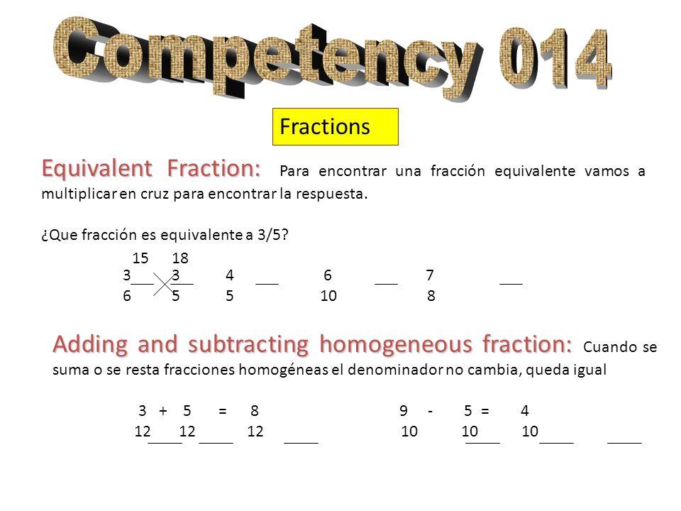 Fractions Equivalent Fraction: Equivalent Fraction: Para encontrar una fracción equivalente vamos a multiplicar en cruz para encontrar la respuesta. ¿