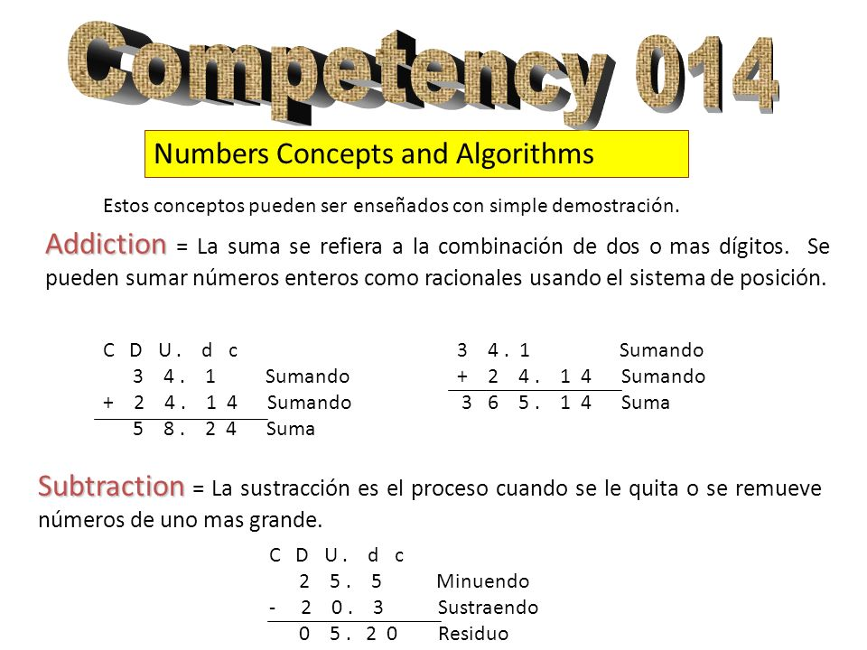 Numbers Concepts and Algorithms Addiction Addiction = La suma se refiera a la combinación de dos o mas dígitos. Se pueden sumar números enteros como r