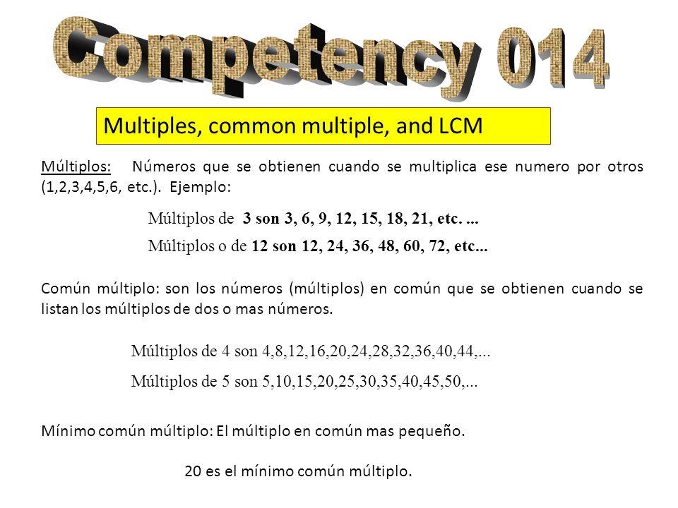 Multiples, common multiple, and LCM Múltiplos: Números que se obtienen cuando se multiplica ese numero por otros (1,2,3,4,5,6, etc.). Ejemplo: Común m