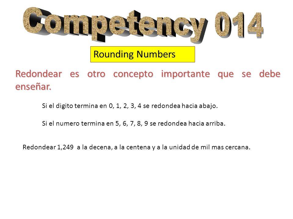 Rounding Numbers Redondear es otro concepto importante que se debe enseñar. Si el digito termina en 0, 1, 2, 3, 4 se redondea hacia abajo. Si el numer