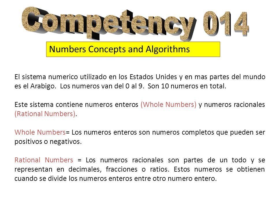 Numbers Concepts and Algorithms El sistema numerico utilizado en los Estados Unides y en mas partes del mundo es el Arabigo. Los numeros van del 0 al