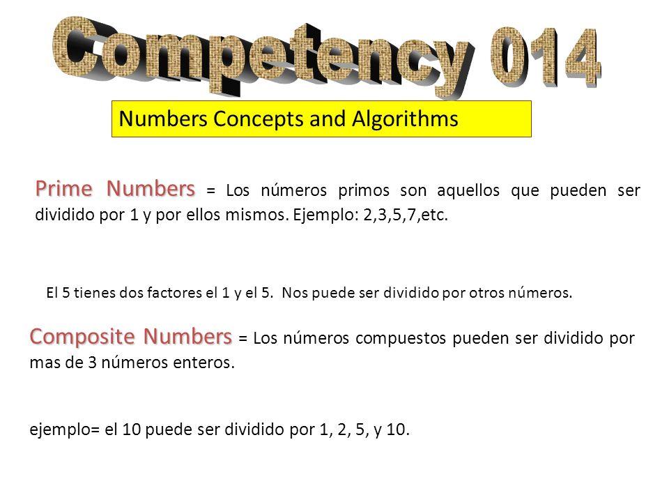 Numbers Concepts and Algorithms Prime Numbers Prime Numbers = Los números primos son aquellos que pueden ser dividido por 1 y por ellos mismos. Ejempl