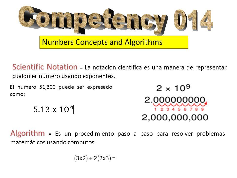 Numbers Concepts and Algorithms Scientific Notation Scientific Notation = La notación científica es una manera de representar cualquier numero usando