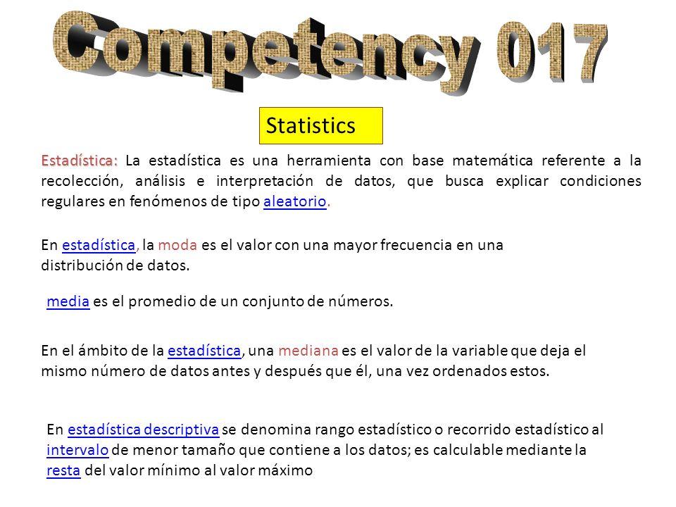 Statistics Estadística: Estadística: La estadística es una herramienta con base matemática referente a la recolección, análisis e interpretación de datos, que busca explicar condiciones regulares en fenómenos de tipo aleatorio.aleatorio En estadística, la moda es el valor con una mayor frecuencia en una distribución de datos.estadística mediamedia es el promedio de un conjunto de números.