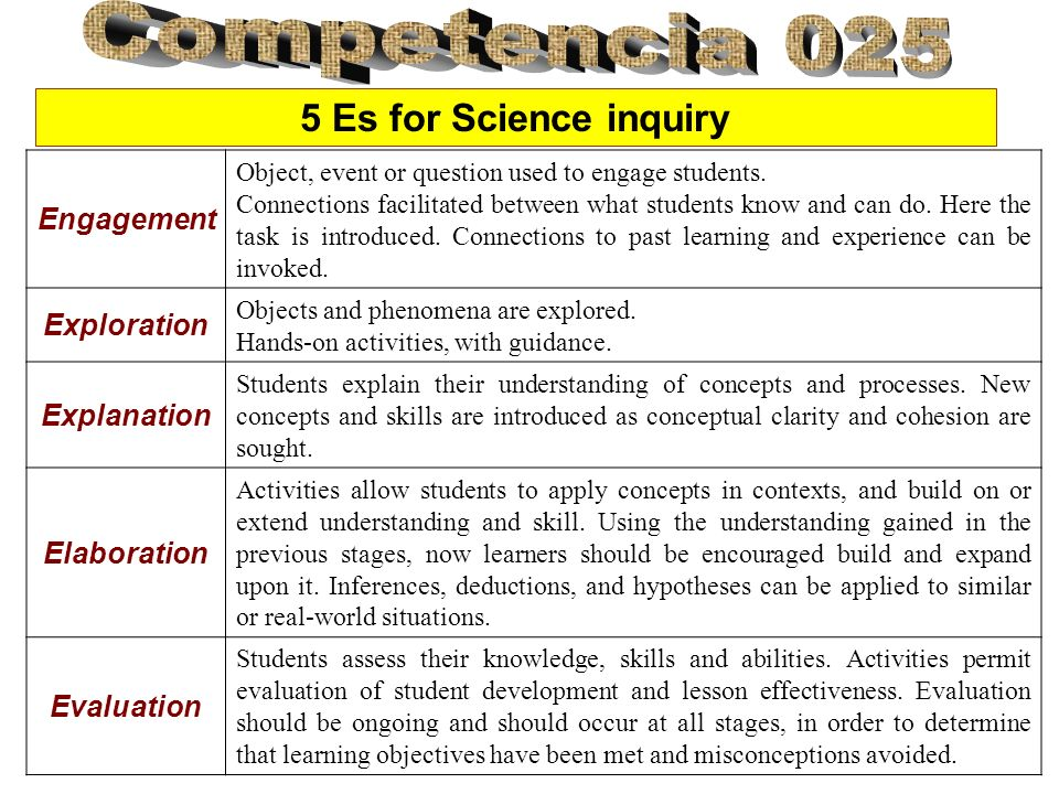 5 Es for Science inquiry Engagement Object, event or question used to engage students. Connections facilitated between what students know and can do.