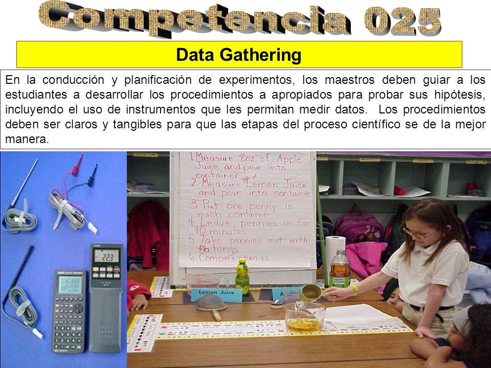 En la conducción y planificación de experimentos, los maestros deben guiar a los estudiantes a desarrollar los procedimientos a apropiados para probar sus hipótesis, incluyendo el uso de instrumentos que les permitan medir datos.