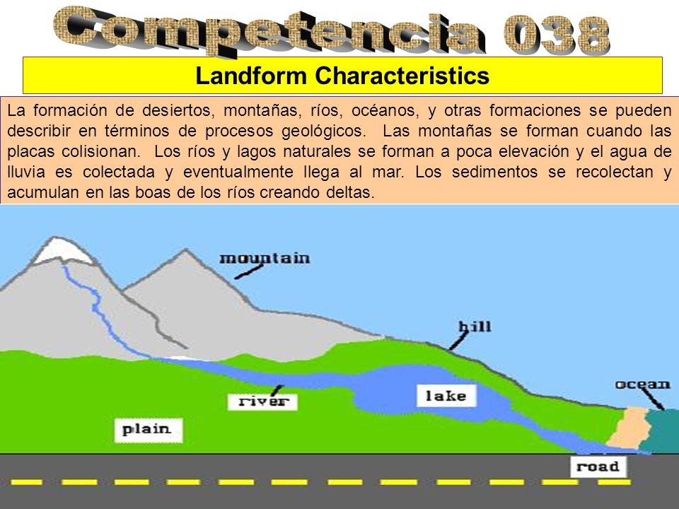 Landform Characteristics La formación de desiertos, montañas, ríos, océanos, y otras formaciones se pueden describir en términos de procesos geológicos.