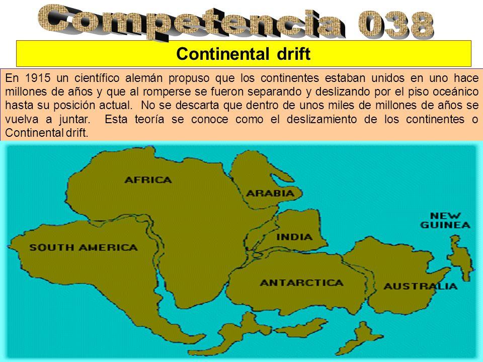 Continental drift En 1915 un científico alemán propuso que los continentes estaban unidos en uno hace millones de años y que al romperse se fueron separando y deslizando por el piso oceánico hasta su posición actual.