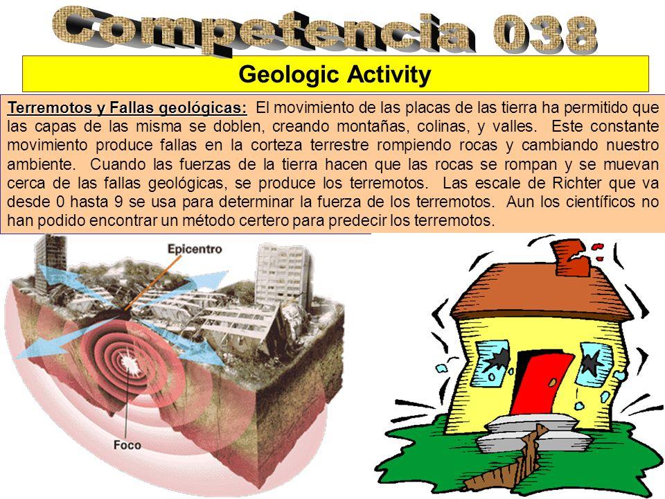 Geologic Activity Terremotos y Fallas geológicas: Terremotos y Fallas geológicas: El movimiento de las placas de las tierra ha permitido que las capas de las misma se doblen, creando montañas, colinas, y valles.
