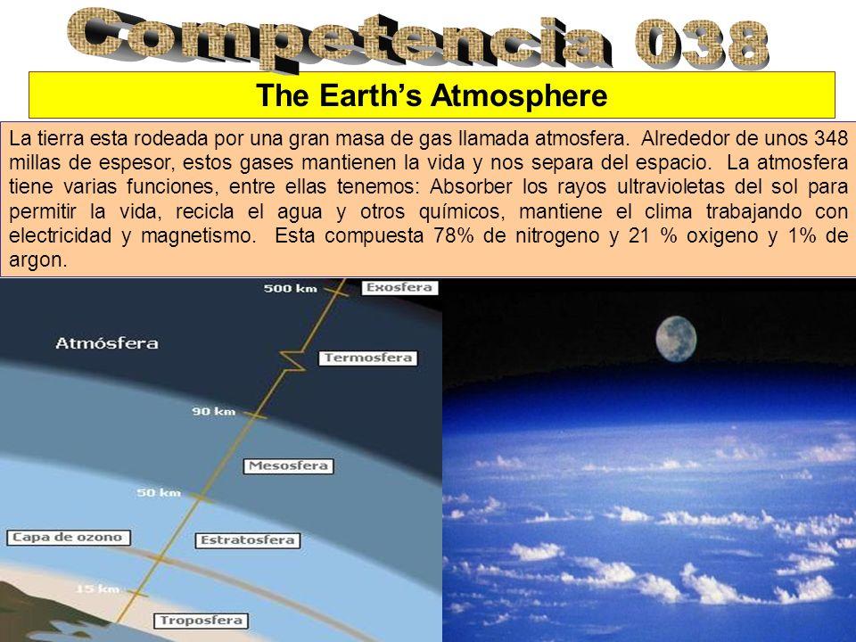 The Earths Atmosphere La tierra esta rodeada por una gran masa de gas llamada atmosfera.