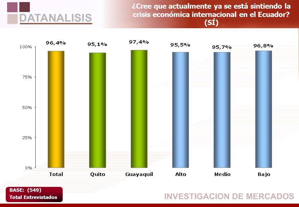 ¿Cree que actualmente ya se está sintiendo la crisis económica internacional en el Ecuador? (SÍ) BASE: (549) Total Entrevistados
