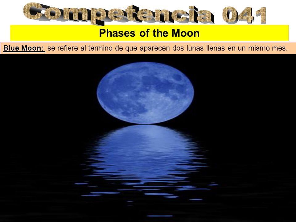 Phases of the Moon Blue Moon: Blue Moon: se refiere al termino de que aparecen dos lunas llenas en un mismo mes.