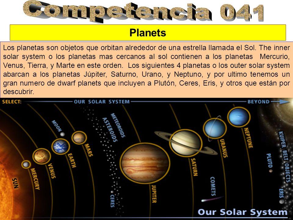Planets Los planetas son objetos que orbitan alrededor de una estrella llamada el Sol. The inner solar system o los planetas mas cercanos al sol conti