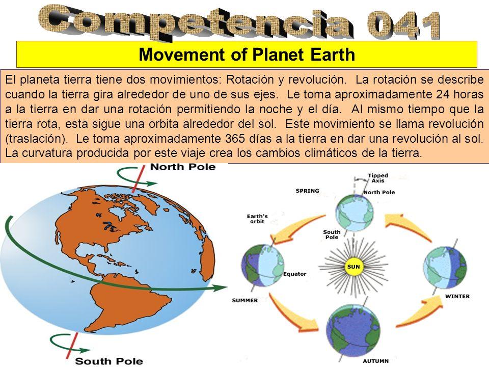 Movement of Planet Earth El planeta tierra tiene dos movimientos: Rotación y revolución. La rotación se describe cuando la tierra gira alrededor de un
