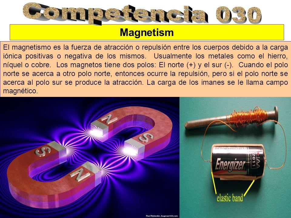 Magnetism El magnetismo es la fuerza de atracción o repulsión entre los cuerpos debido a la carga iónica positivas o negativa de los mismos. Usualment