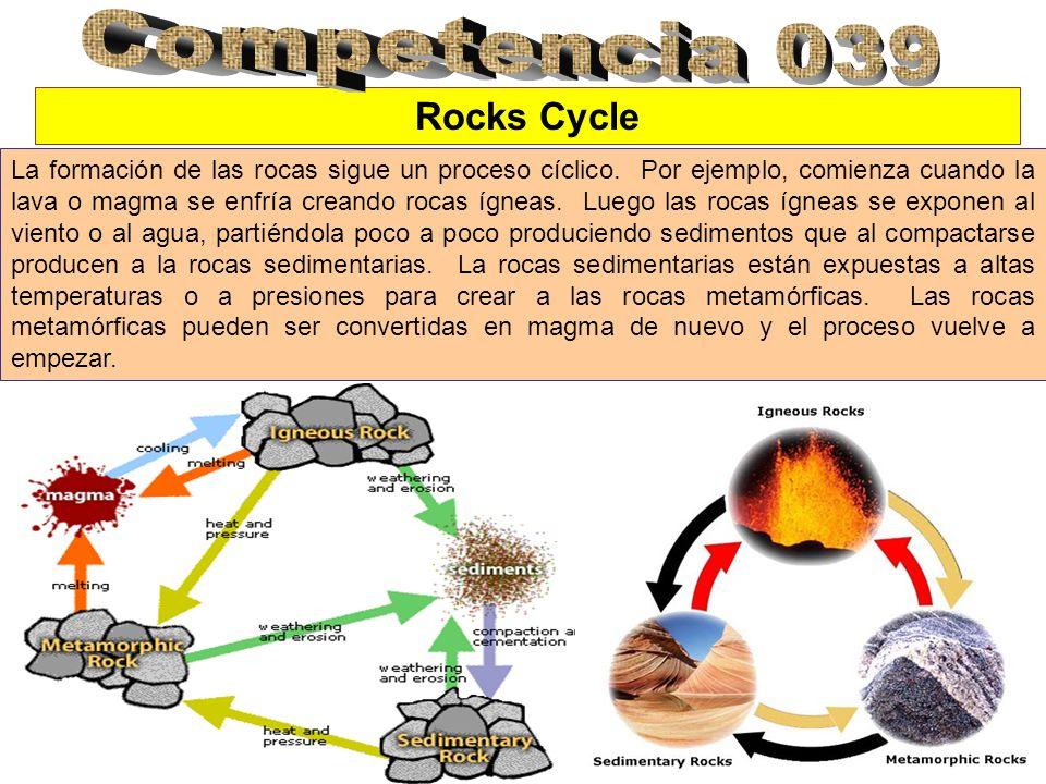 Rocks Cycle La formación de las rocas sigue un proceso cíclico. Por ejemplo, comienza cuando la lava o magma se enfría creando rocas ígneas. Luego las