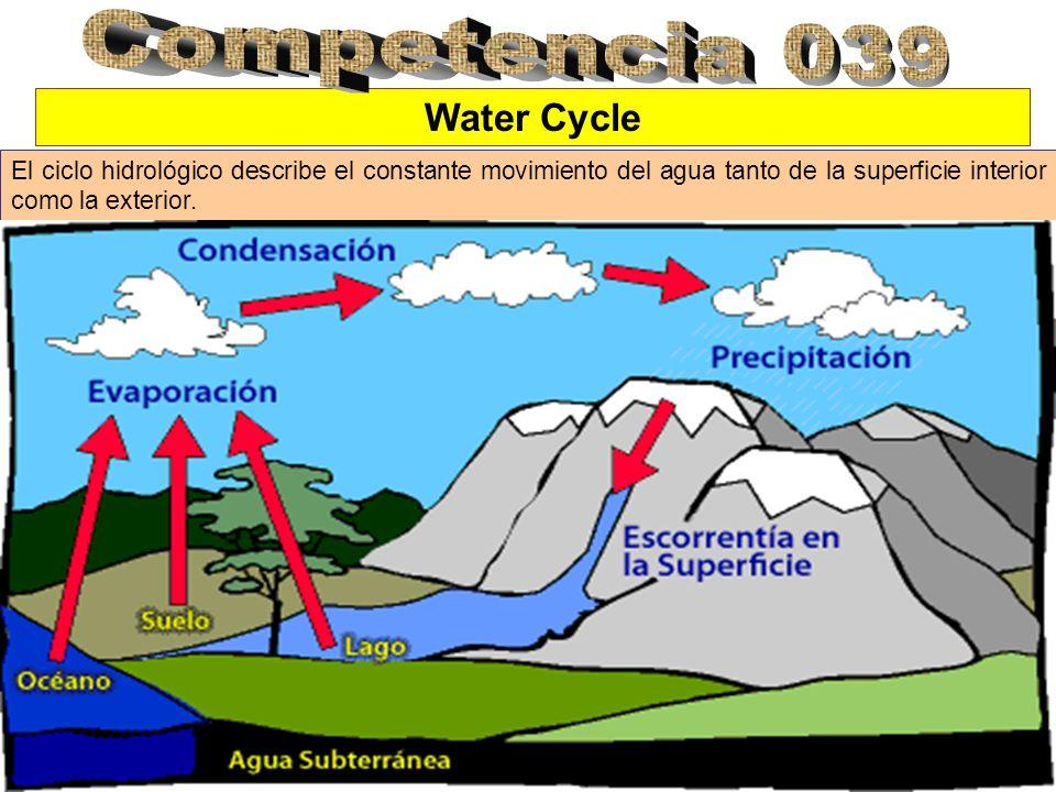 Water Cycle El ciclo hidrológico describe el constante movimiento del agua tanto de la superficie interior como la exterior.