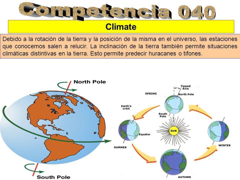 Climate Debido a la rotación de la tierra y la posición de la misma en el universo, las estaciones que conocemos salen a relucir.