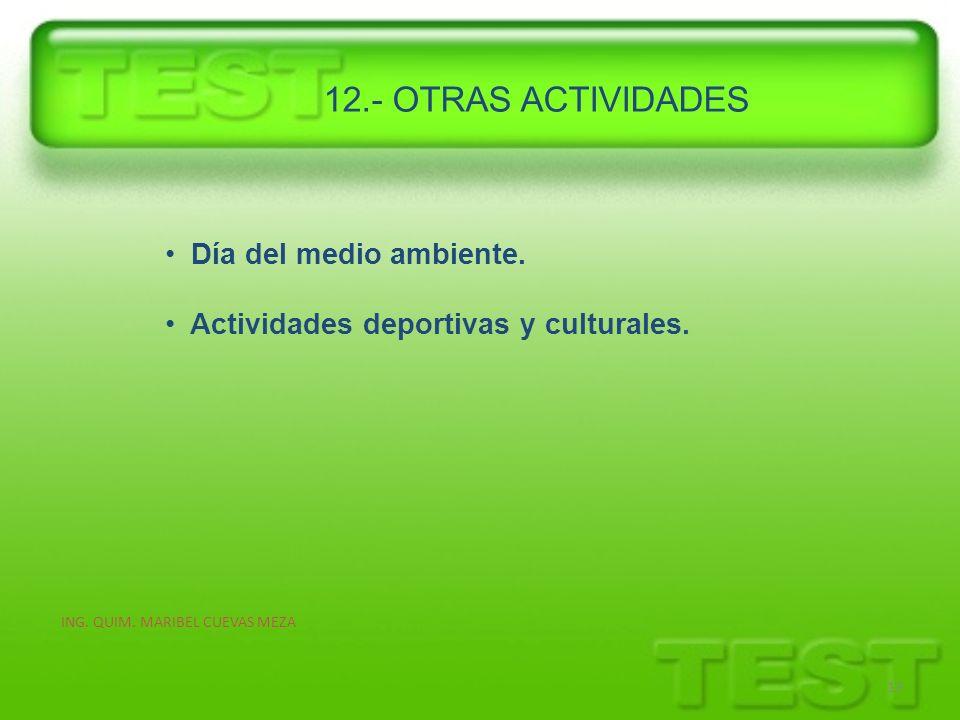 ING. QUIM. MARIBEL CUEVAS MEZA 13 Día del medio ambiente. Actividades deportivas y culturales. 12.- OTRAS ACTIVIDADES