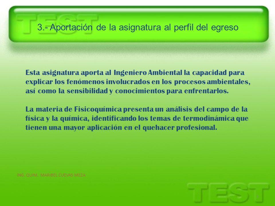 3.- Aportación de la asignatura al perfil del egreso 5 Esta asignatura aporta al Ingeniero Ambiental la capacidad para explicar los fenómenos involucr