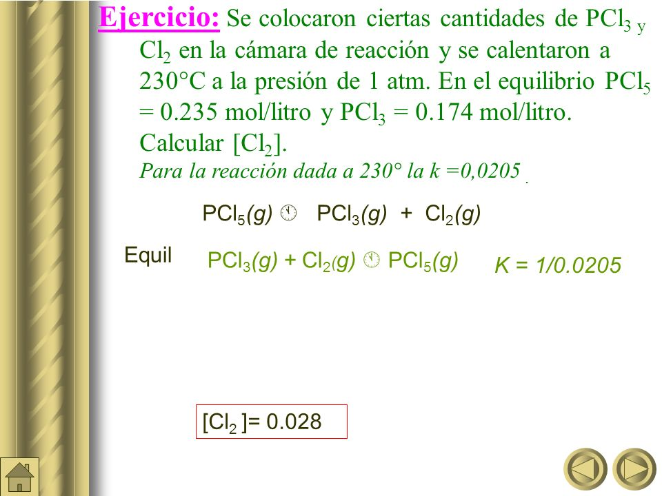 Moles equil. 0,0014 0,013 0,013 x 2 + 0,48x – 0,0278 = 0 x = -b ± (b 2 -4ac) 2a Conc Molar equil. 0,058 0,052 0,052