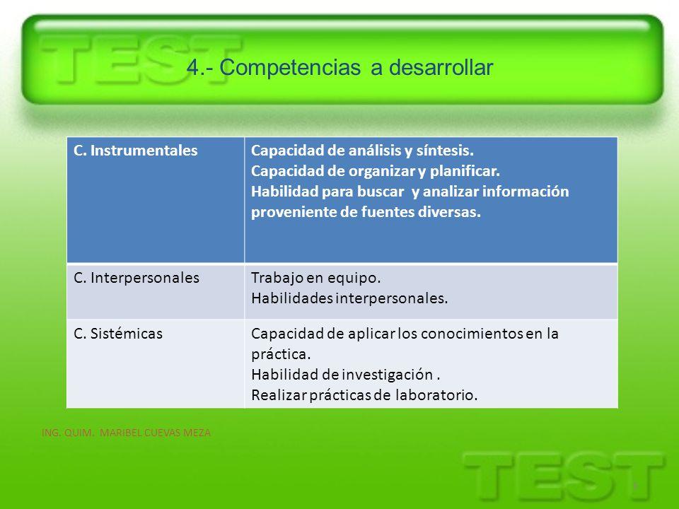 4.- Competencias a desarrollar 6 C. InstrumentalesCapacidad de análisis y síntesis. Capacidad de organizar y planificar. Habilidad para buscar y anali