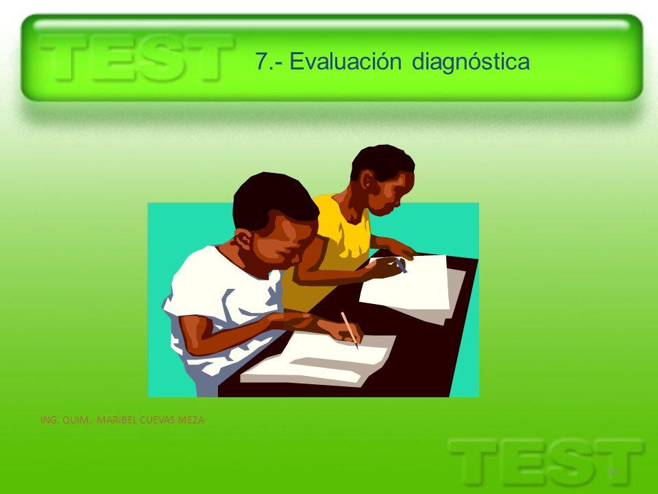 7.- Evaluación diagnóstica ING. QUIM. MARIBEL CUEVAS MEZA 10