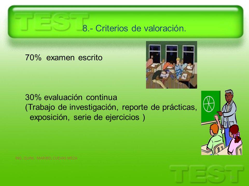 8.- Criterios de valoración. ING. QUIM. MARIBEL CUEVAS MEZA 11 70% examen escrito 30% evaluación continua (Trabajo de investigación, reporte de prácti