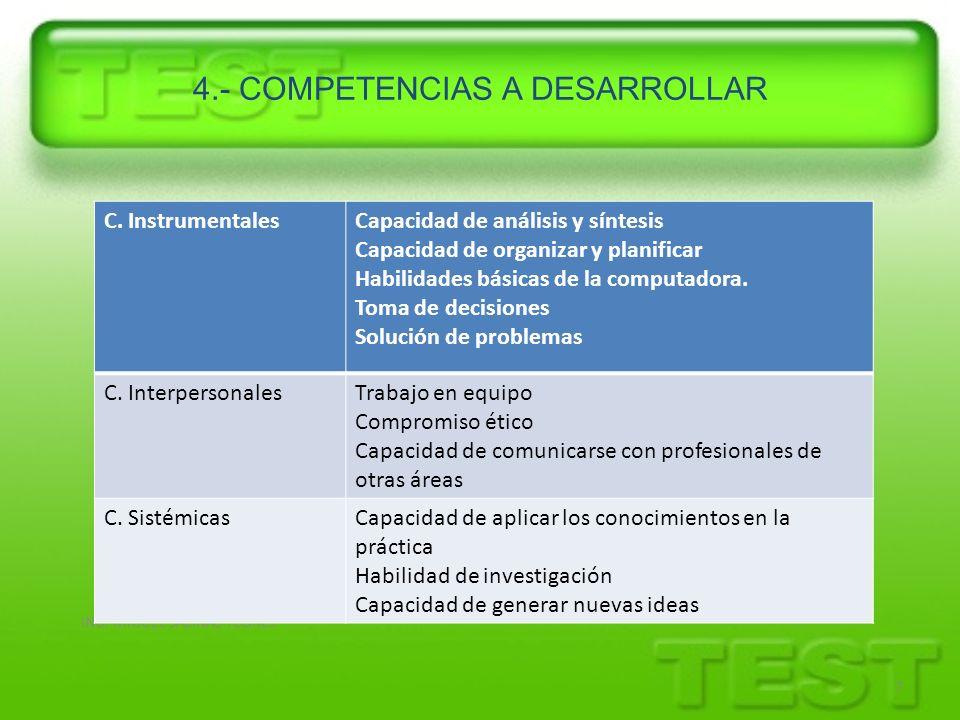 ING. MIGUEL SALINAS FLORES 7 4.- COMPETENCIAS A DESARROLLAR C. InstrumentalesCapacidad de análisis y síntesis Capacidad de organizar y planificar Habi