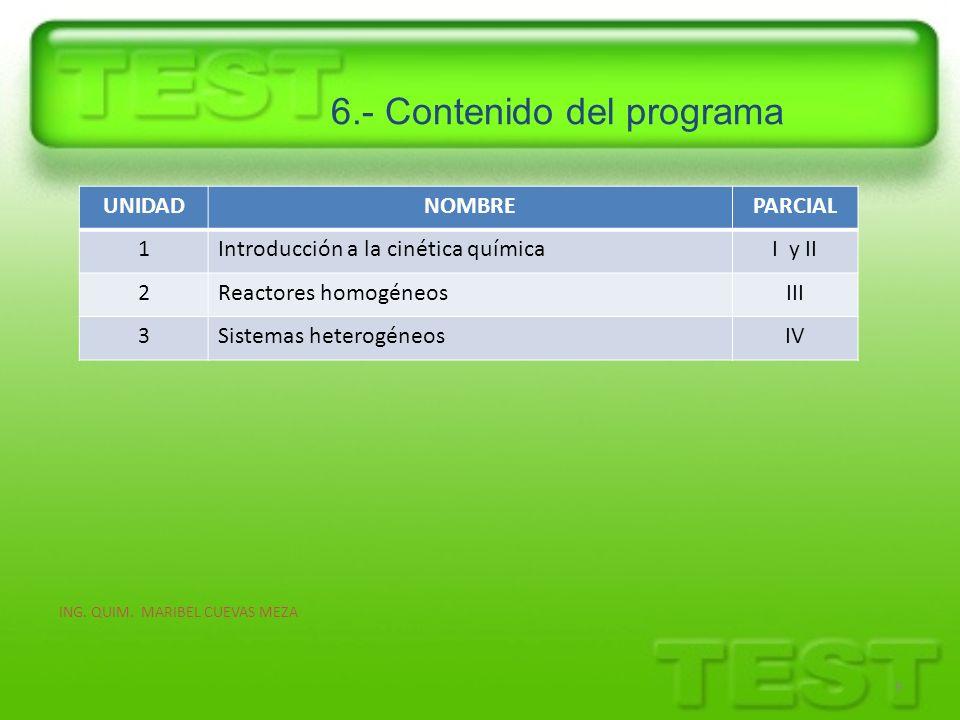 6.- Contenido del programa ING. QUIM. MARIBEL CUEVAS MEZA 9 UNIDADNOMBREPARCIAL 1Introducción a la cinética químicaI y II 2Reactores homogéneosIII 3Si
