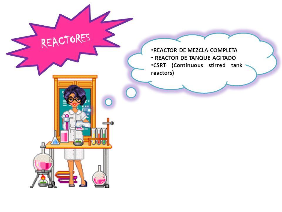 REACTOR DE MEZCLA COMPLETA REACTOR DE TANQUE AGITADO CSRT (Continuous stirred tank reactors) REACTORES