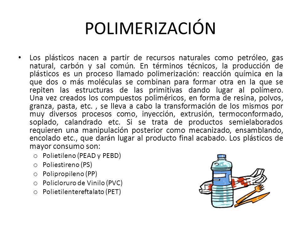 POLIMERIZACIÓN Los plásticos nacen a partir de recursos naturales como petróleo, gas natural, carbón y sal común. En términos técnicos, la producción