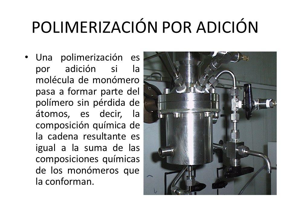 POLIMERIZACIÓN POR ADICIÓN Una polimerización es por adición si la molécula de monómero pasa a formar parte del polímero sin pérdida de átomos, es dec